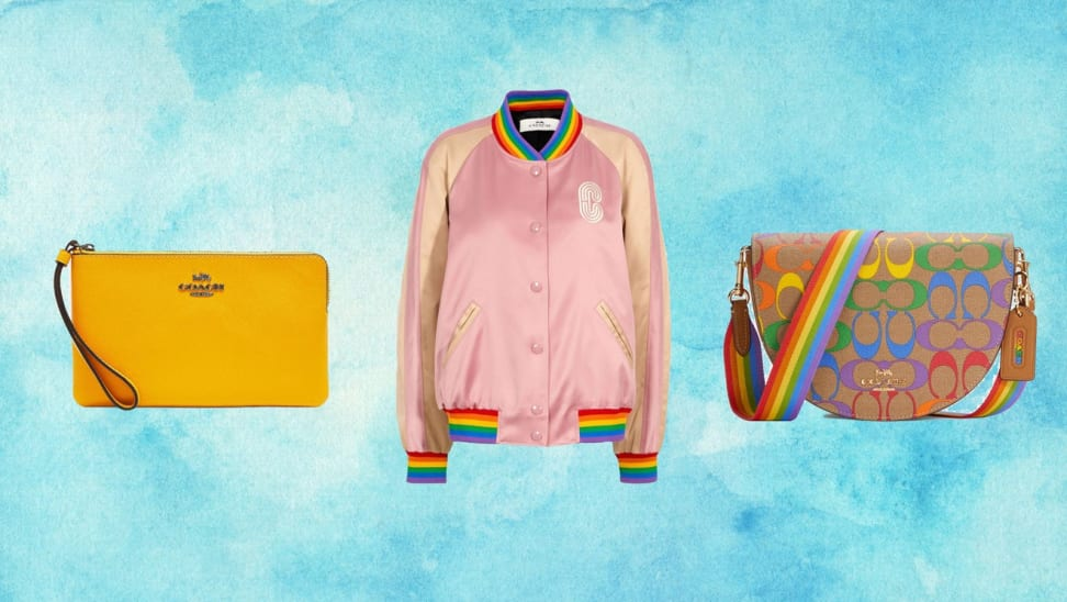 yellow wristlet, pink jacket, rainbow purse from Coach Outlet