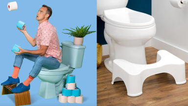 On right, man juggling blue and white toilet paper while sitting on toilet and using Squatty Potty. On right, white plastic Squatty Potty sitting on floor in front of toilet.