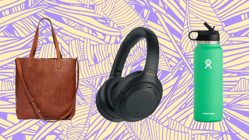 A Madewell tote bag, Sony WH-1000XM4 headphones, and Hydro Flask against an abstract background, among the best 30th birthday gift ideas.