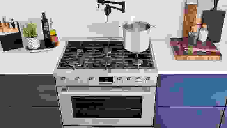 A lifestyle image of an industrial-style gas range.