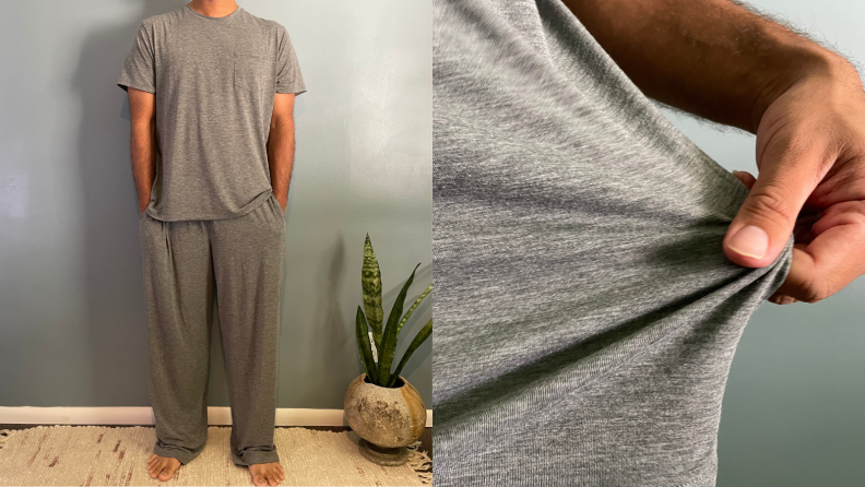 man standing in grey pajama set by Tommy John, man stretching Tommy John grey pajama pocket tee