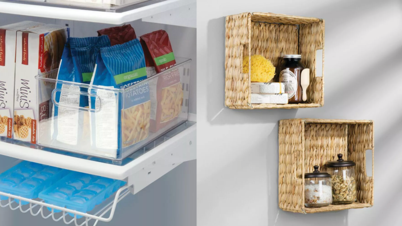 On left, clear food organizer in fridge. On right, bamboo organizers mounted on wall with bathroom items inside.