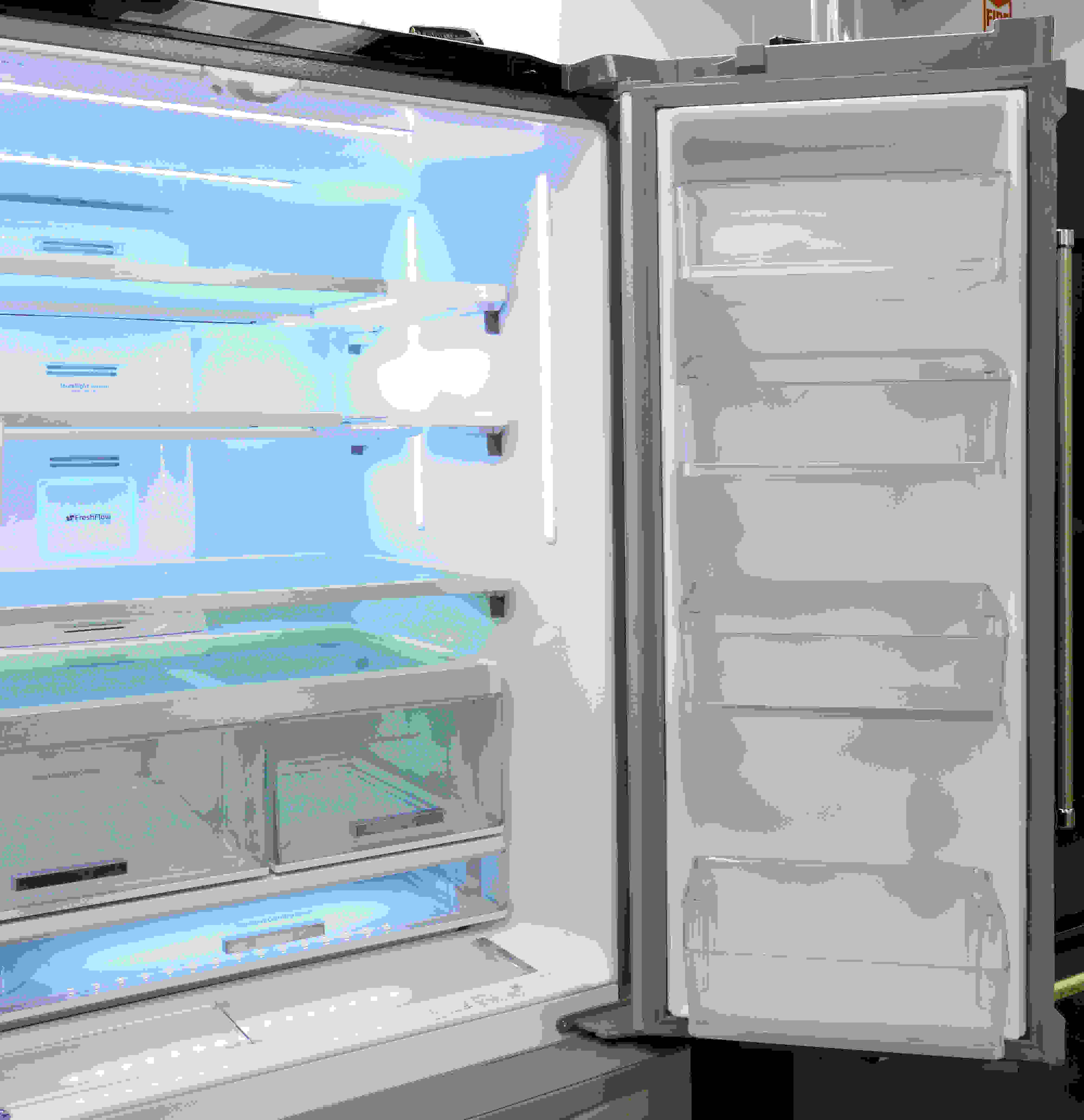 This fridge has plenty of gallon-deep door bins, but most have so little vertical clearance that they might not be useful for storing large items.