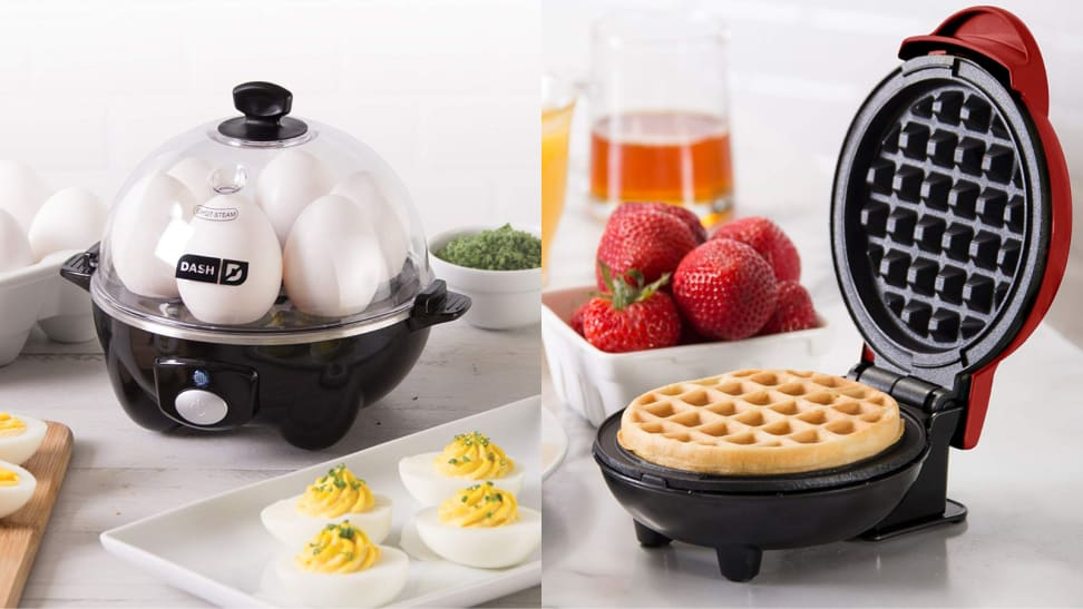 On the left, there's a Dash egg cooker, with some boiled half eggs; on the right, there's a red Dash mini waffle maker.