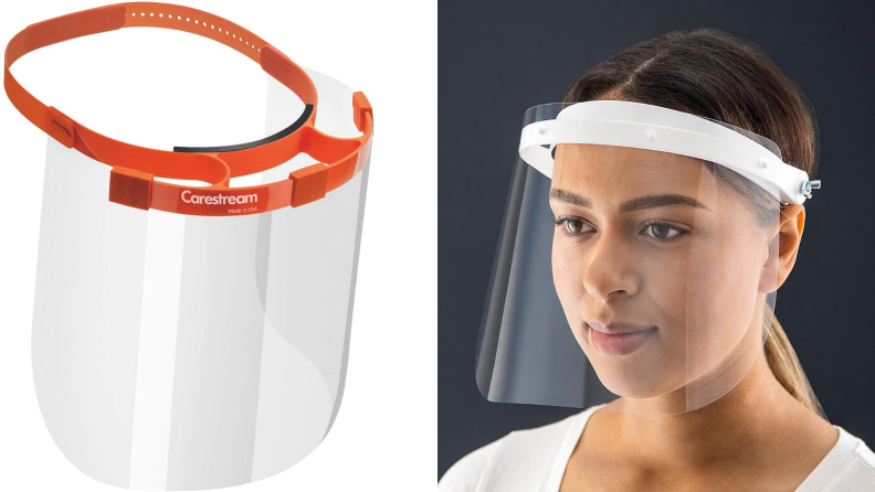 On left, orange and clear face shield without porous foam around forehead. On left, woman wearing clear and white face shield without porous foam around forehead.