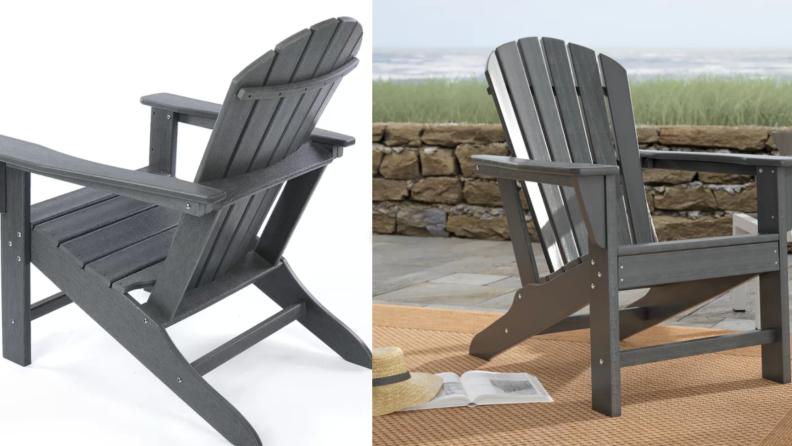Two closeups of gray Adirondack chairs.