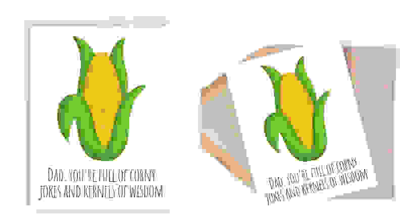 Card with corn on it