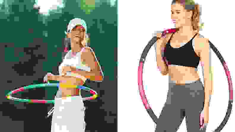 A woman using a hula hoop outside and a woman posing with a hoop.