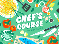 """Green animated pictures with colorful foods and """"Chef's Course by Reviewed"""""""