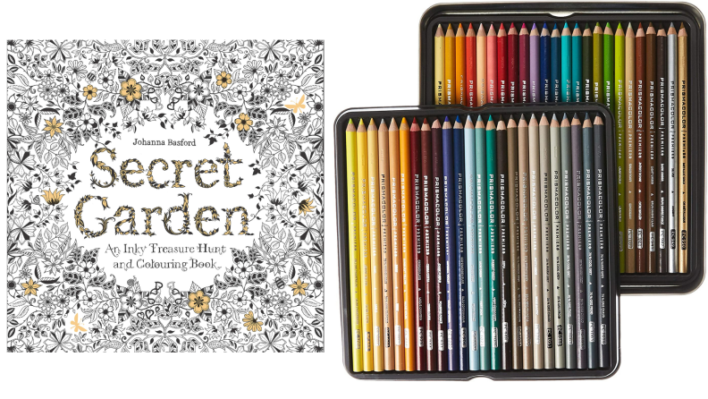 A coloring book and colored pencils pack.