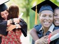 Graduates hugging family members.