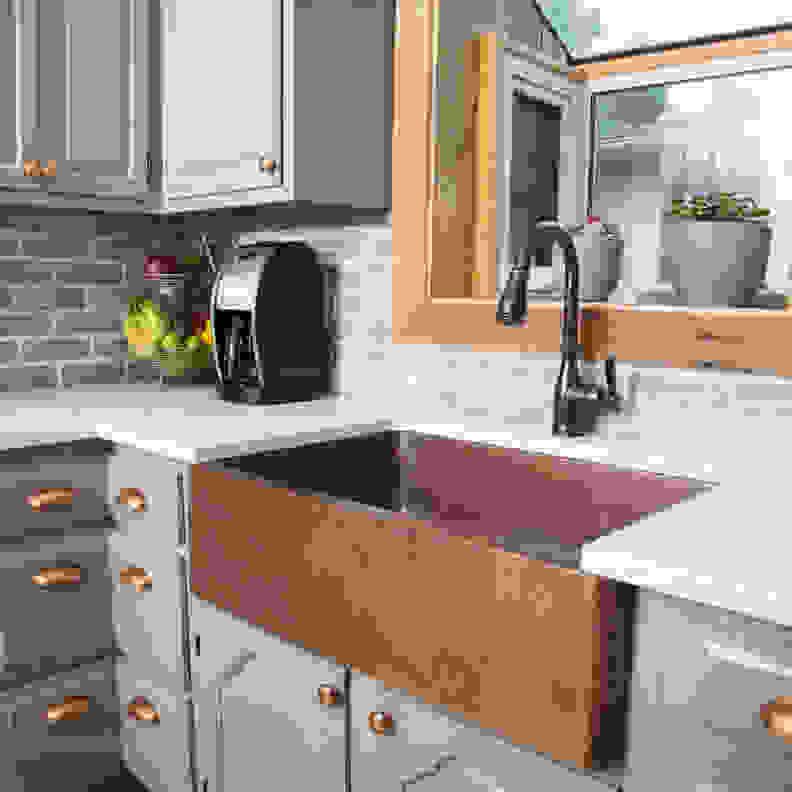 Monet Farmhouse Apron Copper Sink, by Sinkology