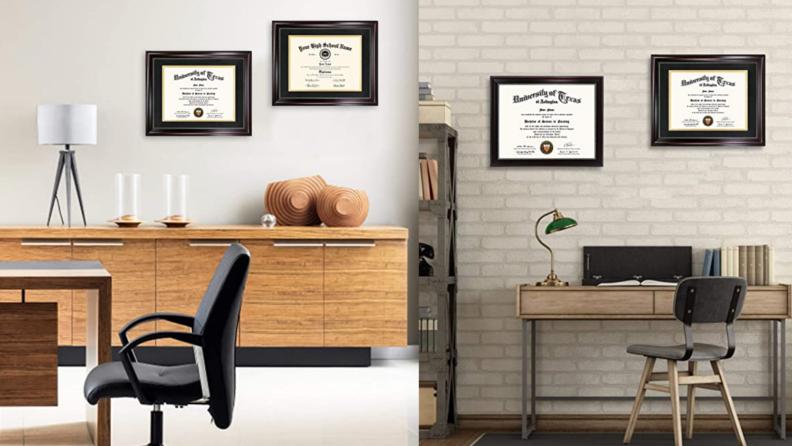 Diplomas on a wall.