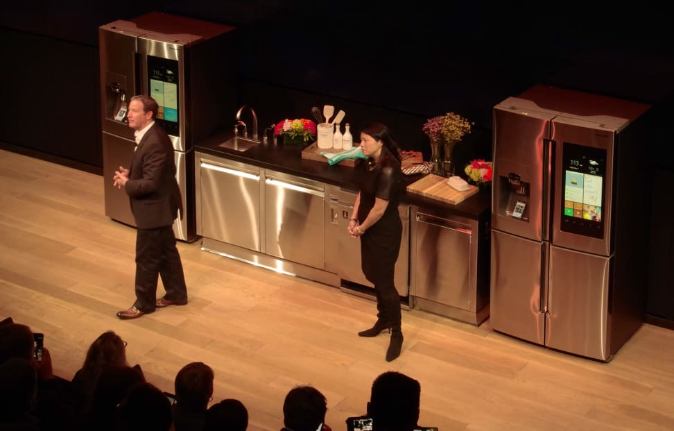 John Herrington and Katie Cheng of Samsung introduce the Family Hub refrigerator