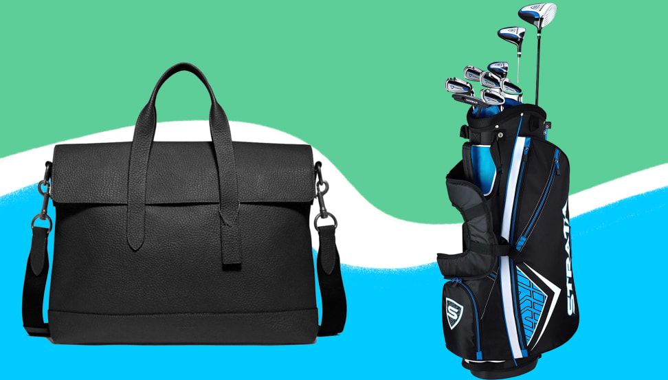 Coach black leather brief bag and golf clubs on a blue, white, green background.