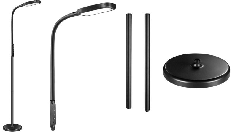 A black Miroco floor lamp and its parts against a white background.