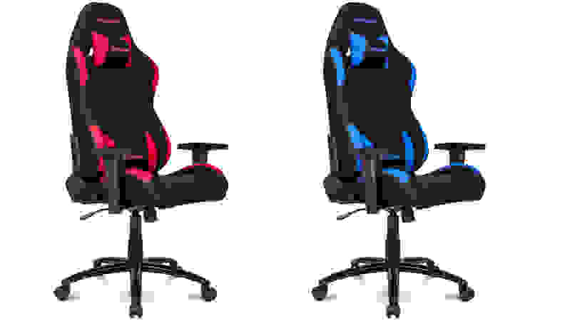 Left: red racing style gaming chair Right: blur racing style gaming chair on white background.