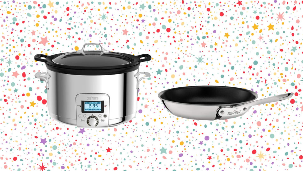 A slow cooker and pan against a colorful confetti-like background