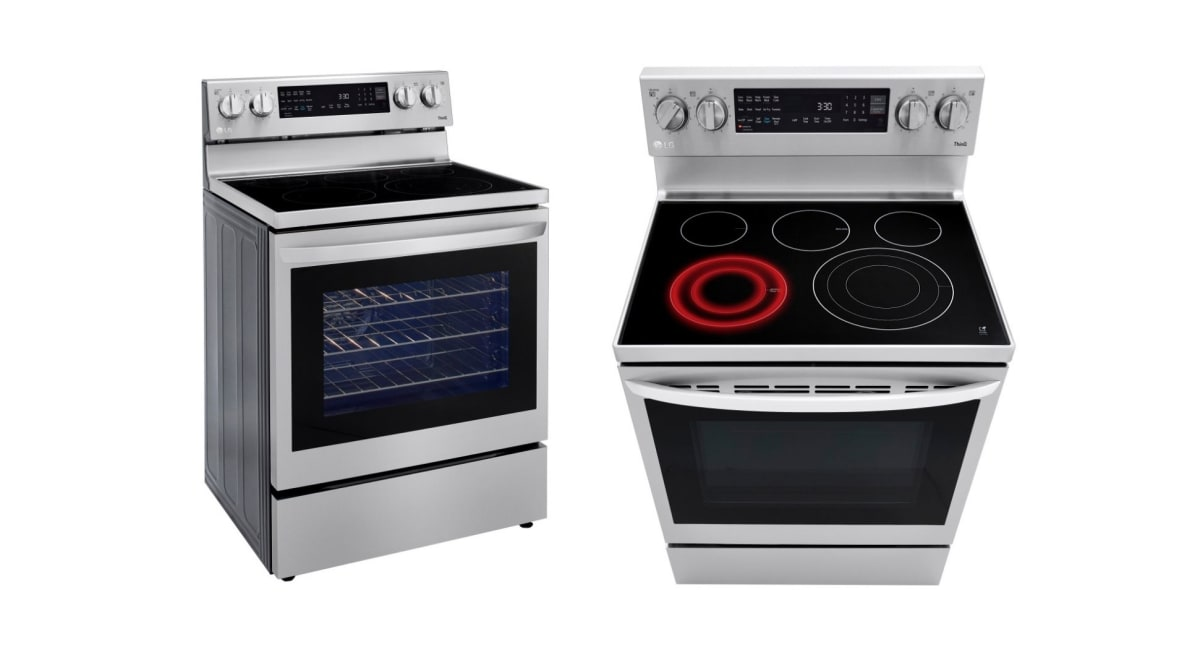 A side by side image of the front and top of an electric range by LG.