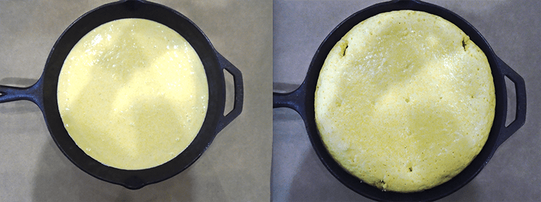 Cornbread before and after cooking in a fry pan.