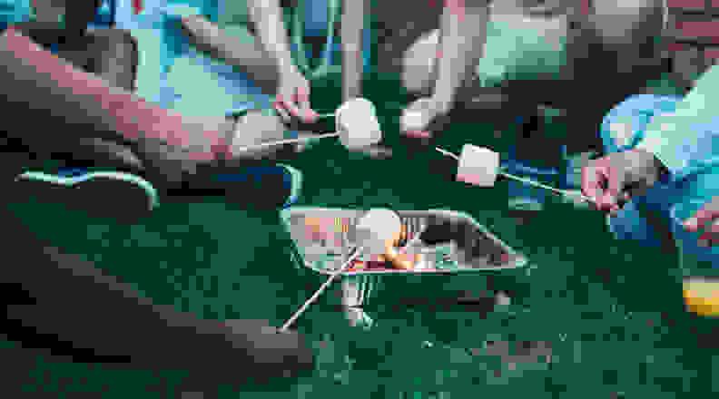 Safe backyard marshmallow roasting