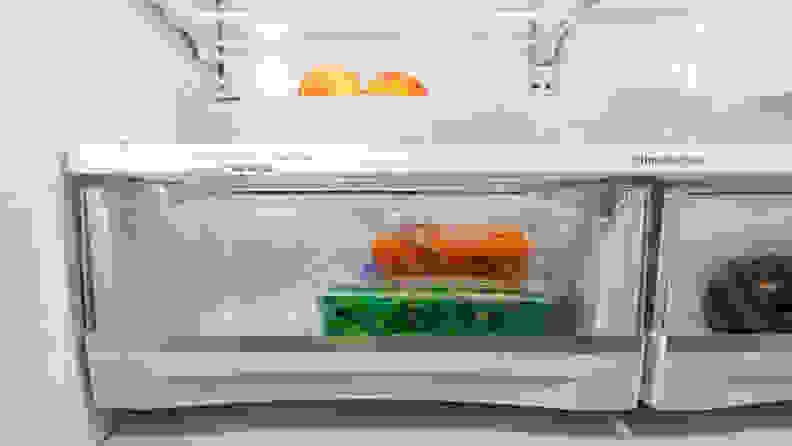 Fresh fruit is stored in a refrigerator's crisper