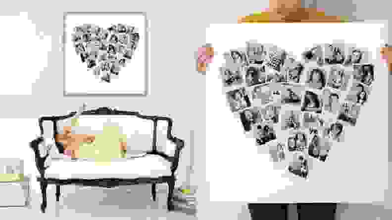 Heart shaped collage in room