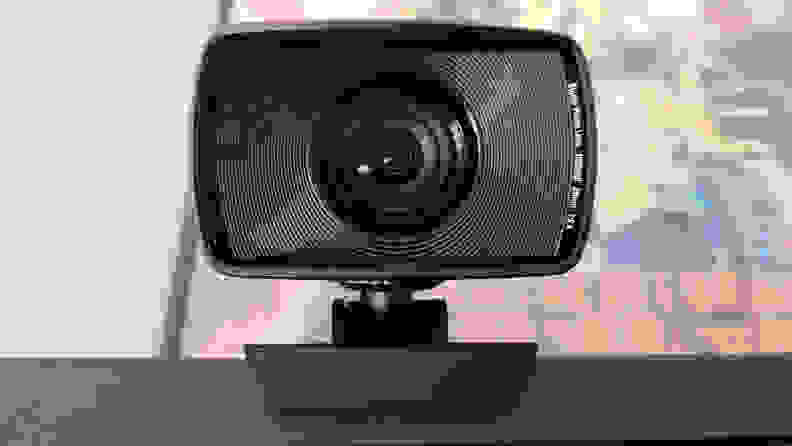 A straight on view of a webcam without a lens cover