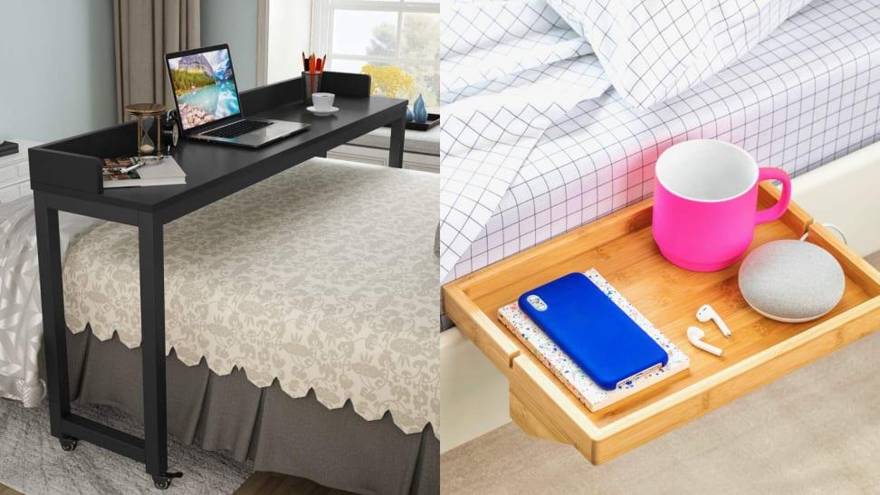 Slim desk hangs over desk / Bedshelfie attached to side of the bed