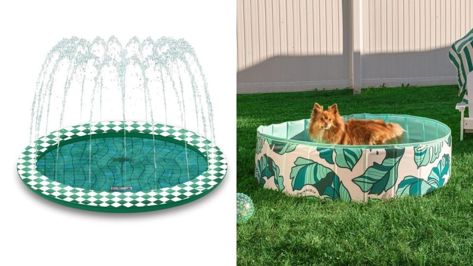 Left: Splash Pad; Right: Printed dog pool