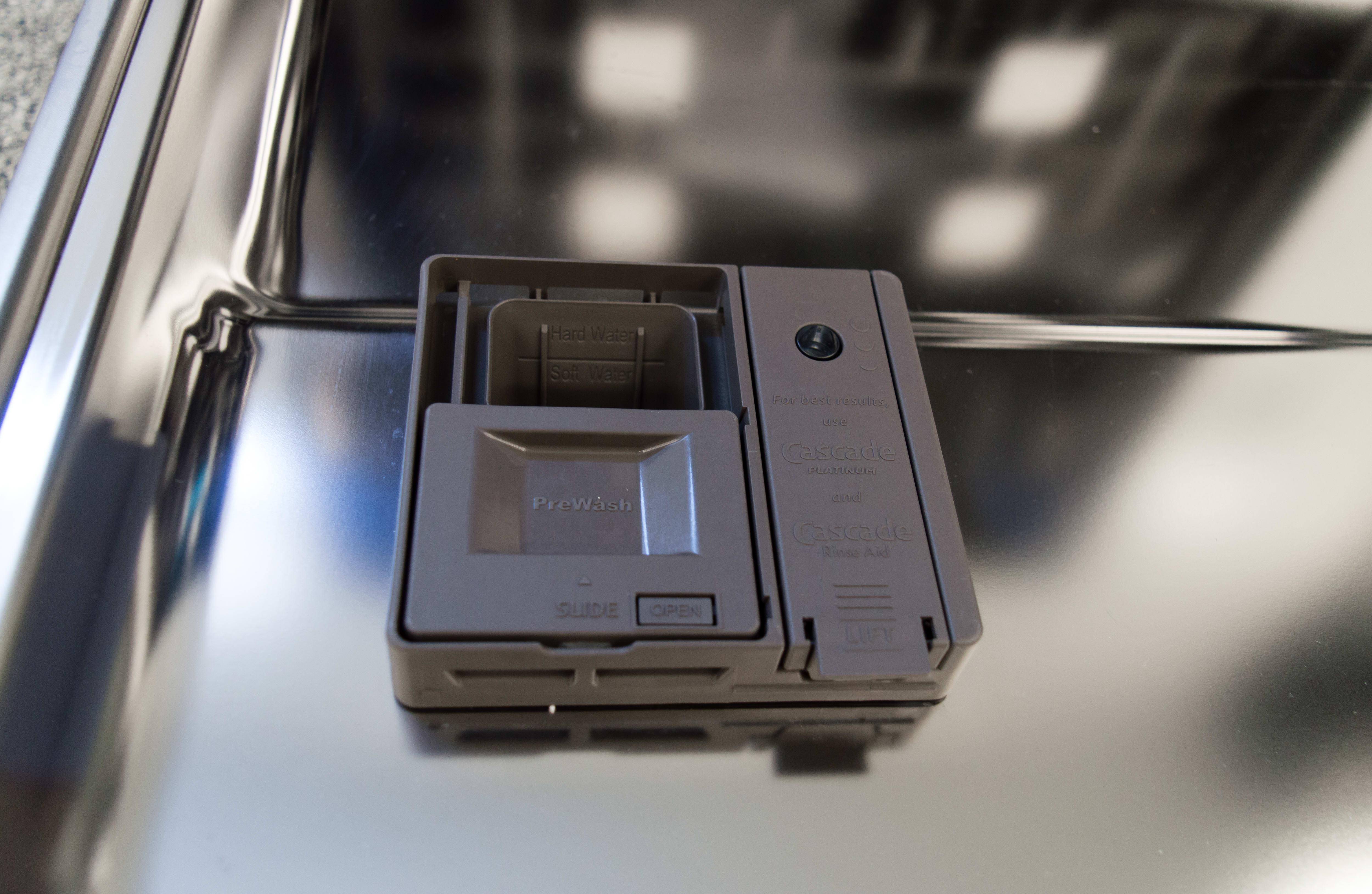 KitchenAid KDTM404ESS detergent dispenser open
