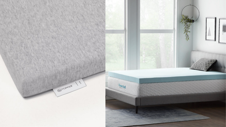 On the left, a photo of the Tuft & Needle mattress topper. On the right, a photo of the Lucid foam mattress topper.