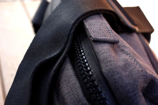 The bag's zippers are made of a thick plastic, giving you quick access to the main pocket.