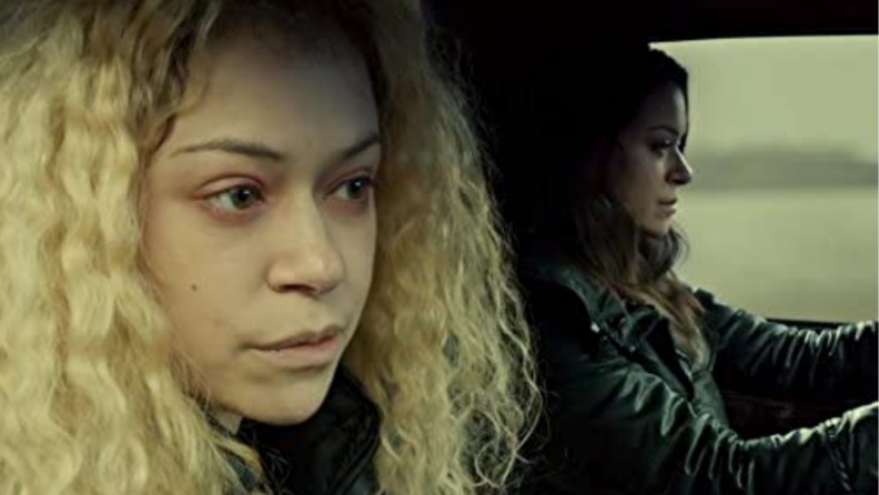 An image of Helena from 'Orphan Black' (one of the clones) sitting in a car.