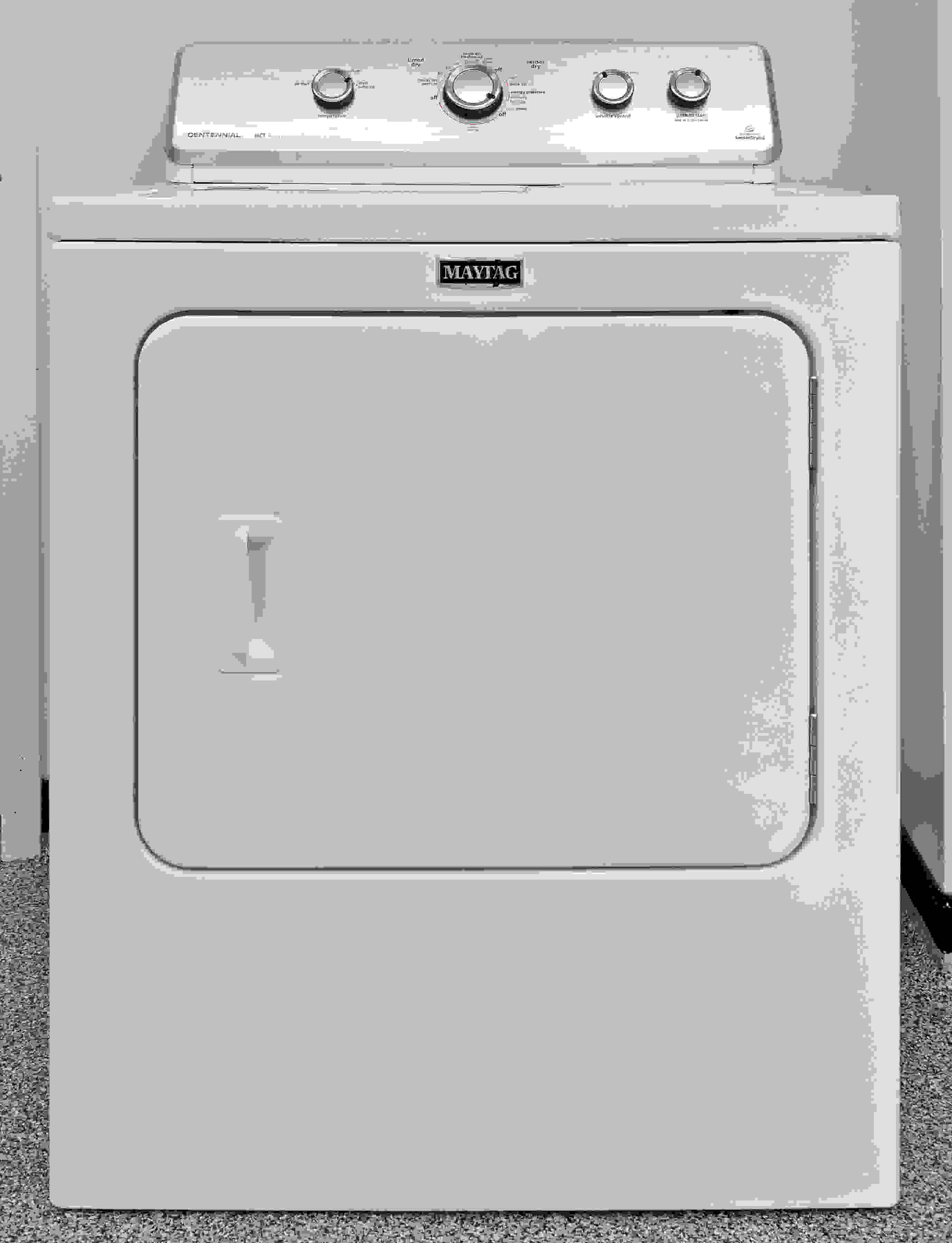 The Maytag Centennial MEDC415EW is a basic machine with a low-frills design.