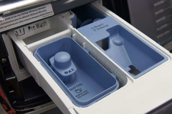 A standard Samsung detergent dispenser, remove the tray to use powdered detergents.
