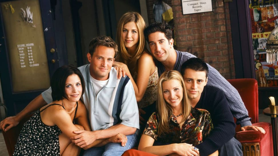 """The cast of the show """"Friends"""" in a coffee shop, among the best '90s tv shows to stream now."""
