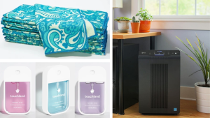 Stack of microfiber clothes on top of an image of Touchland hand sanitizer next to an image of a Winix air purifier