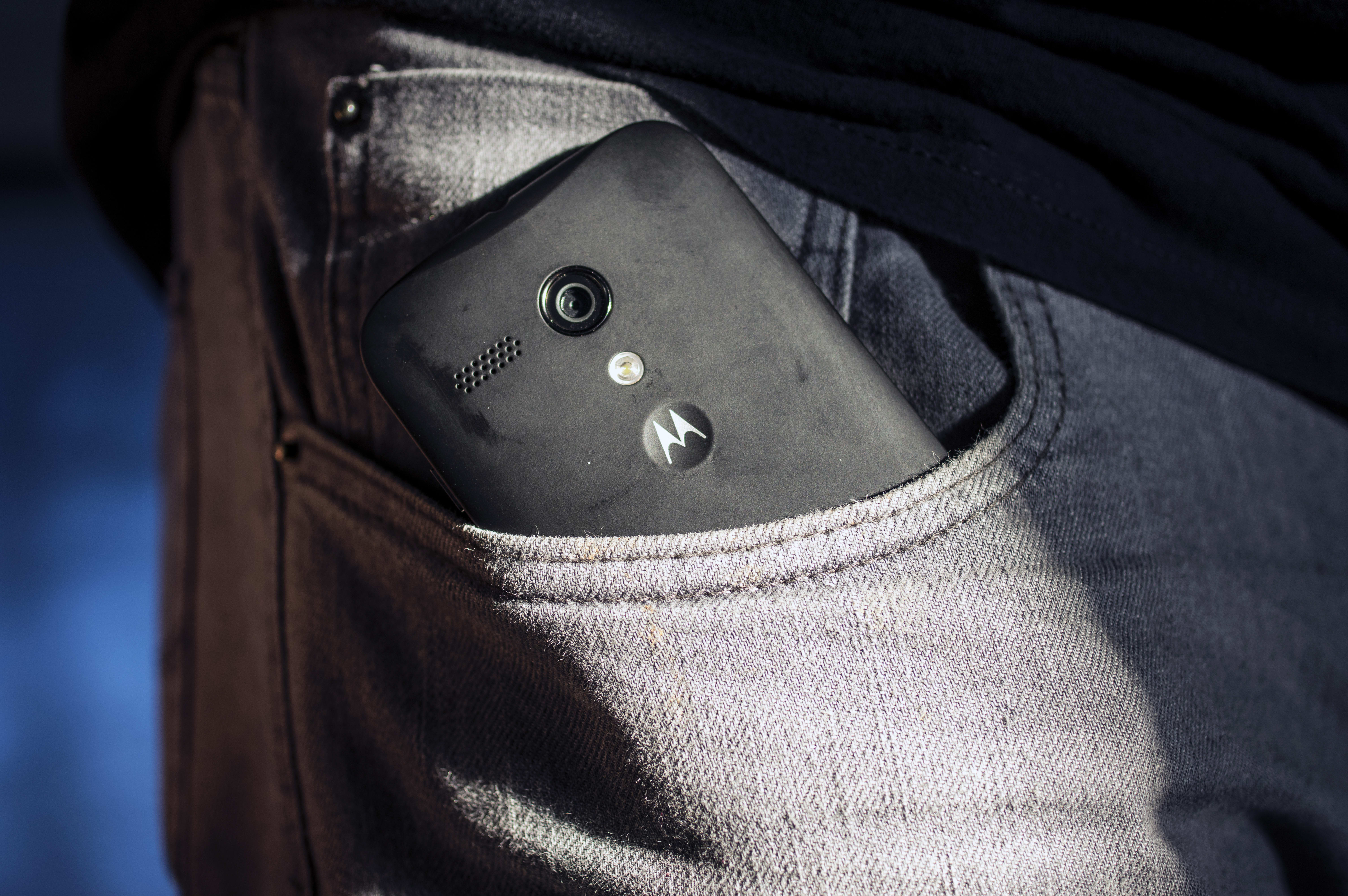 A photo of the Motorola Moto G with 4G LTE in a pocket.