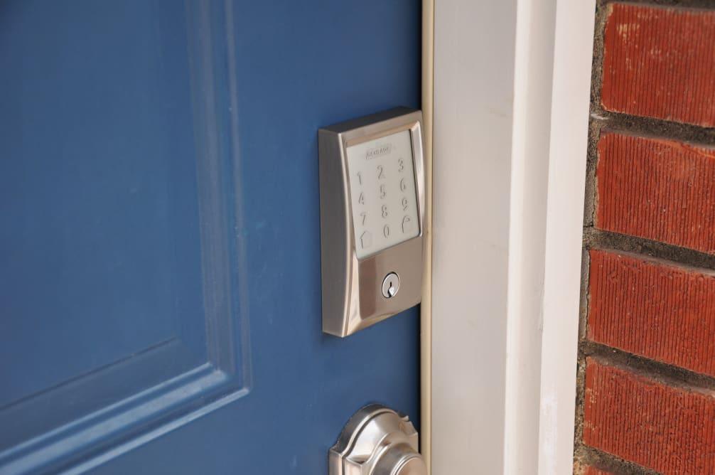 Schlage Encode on blue door