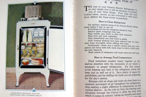 GE Monitor Top fridge cleaning instructions from a 1930 issue of The Silent Hostess