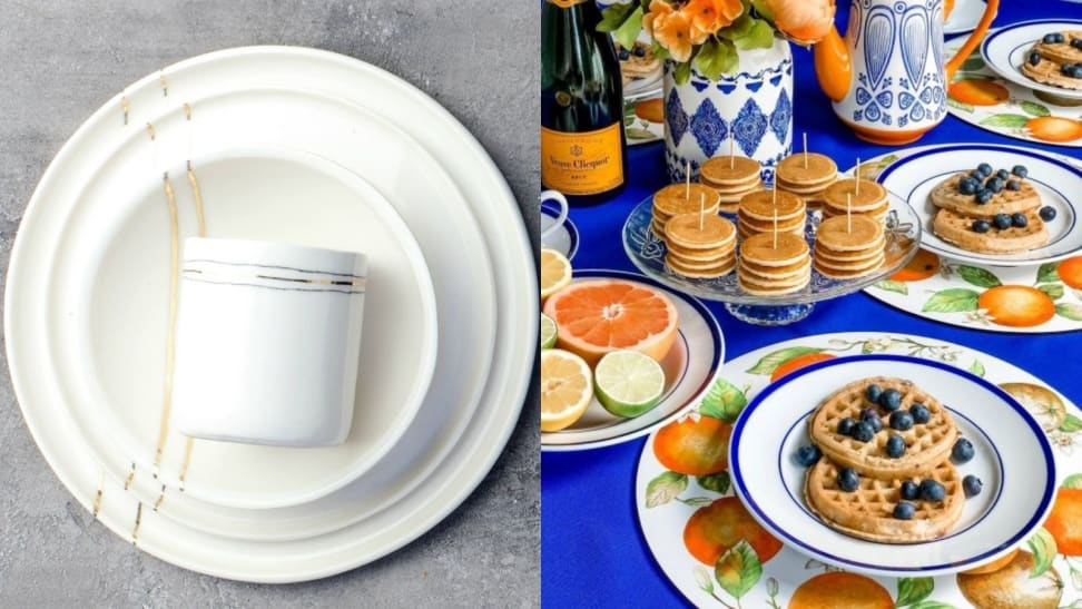 Left: A set of golden dinnerware from Honeycomb Studio. Right: A brunch featuring William Sonoma dinnerware.