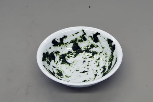 A bowl stained with spinach