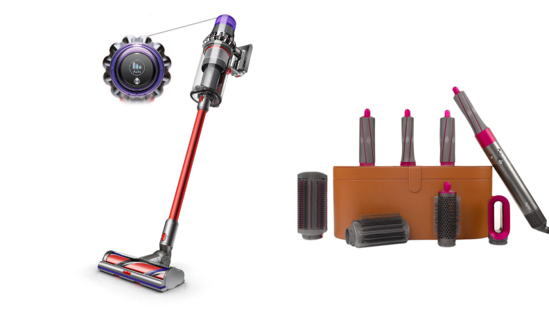 Dyson vacuum and curling wand on white background