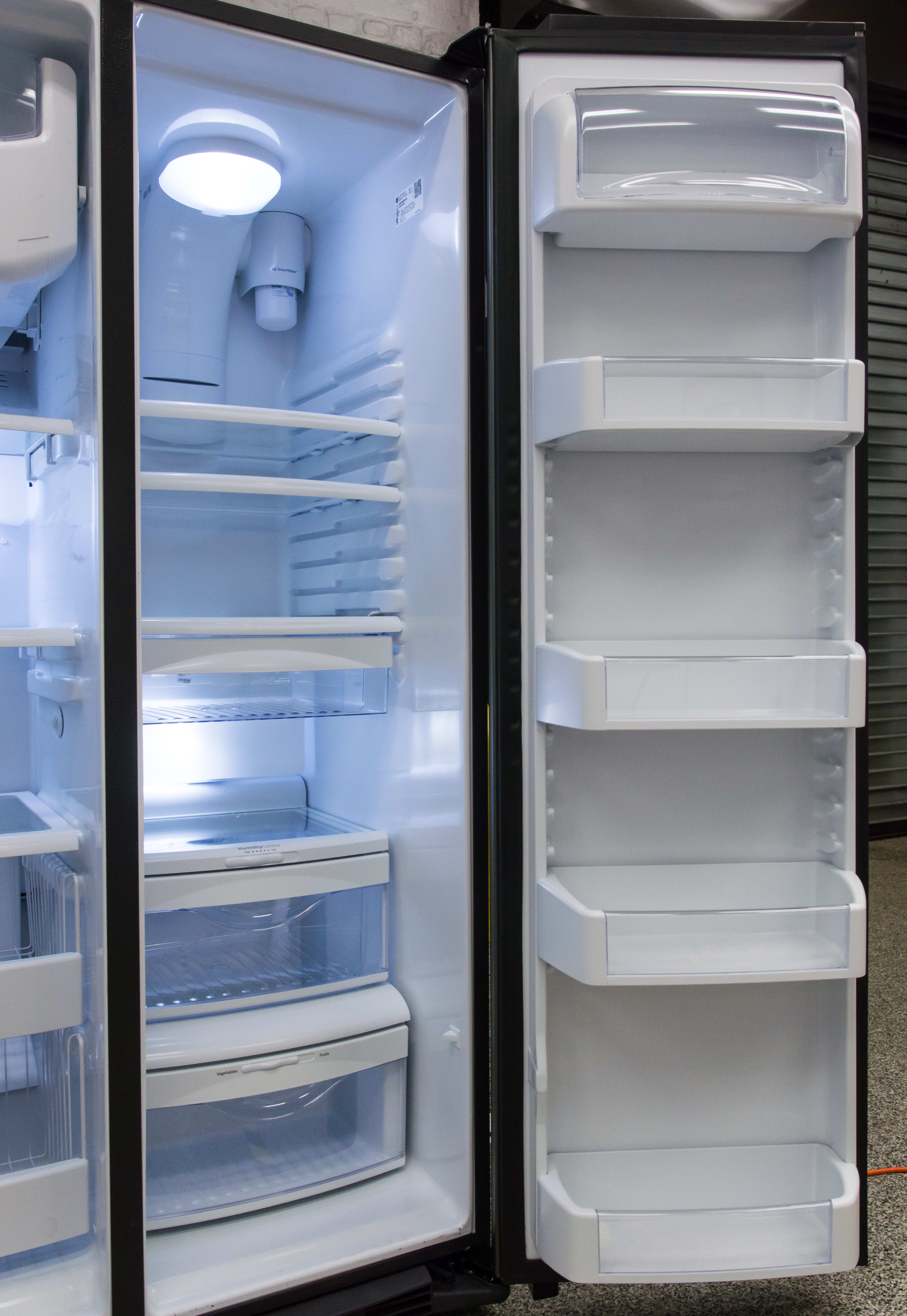 Gallon milk and juice containers fit nicely into the door, and you can move the shelves as needed