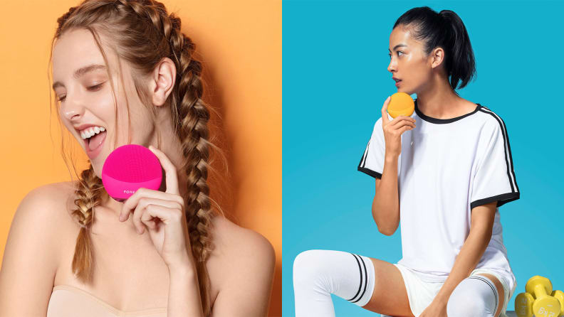 On the left: A person holding a pink Foreo cleansing brush in front of her face. On the right: A person sitting with dumbbells next to them while holding a Foreo cleansing brush.