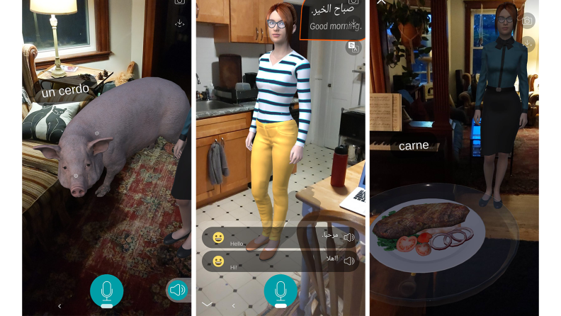 Three images of virtual teacher in kitchen and living room