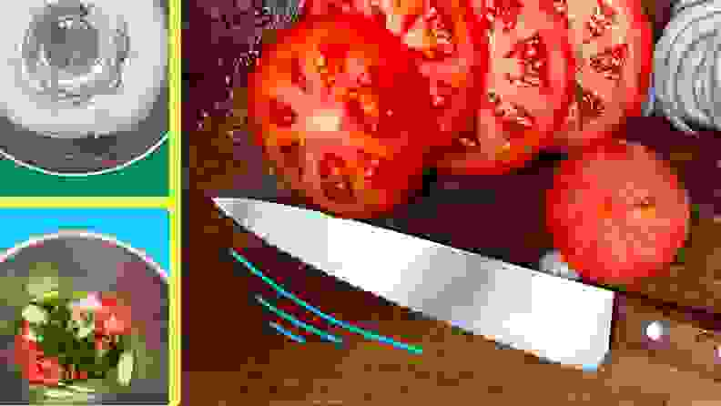 Tomato and red onion slices arranged on a wood cutting board next to a wood-handled knife.