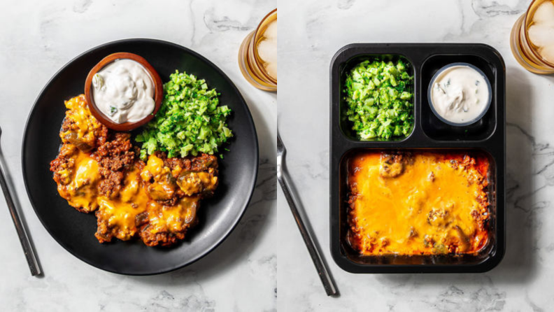 On the left, a plate of turkey poblano is plated in a black plate. On the right, a bento-box-like turkey poblano is organized in a way that each part of the dish has its own space.