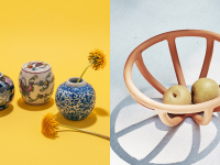 Left: three hand-painted mini ginger jars, Right: terracotta fruit bowl with two pieces of fruit inside